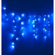 Гирлянда Бахрома наружная для фасада LED 100 синяя, чёрный провод